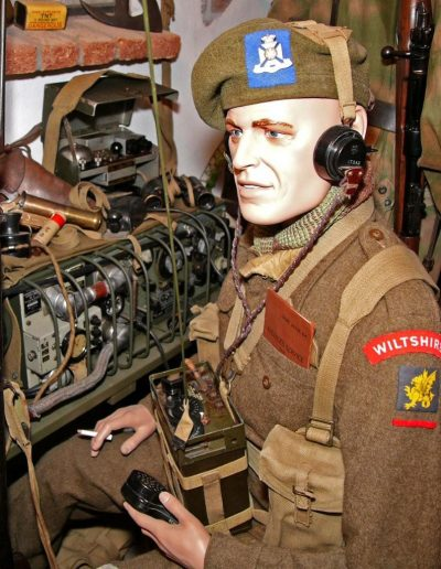 British soldier with portable transmitter